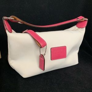 Coach sateen mini handbag with leather strap